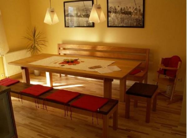 91325 Tischgruppe Kernbuche mit Thermoesche Massivholz